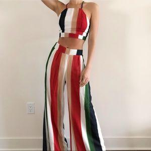 Multicolor wide leg pants set